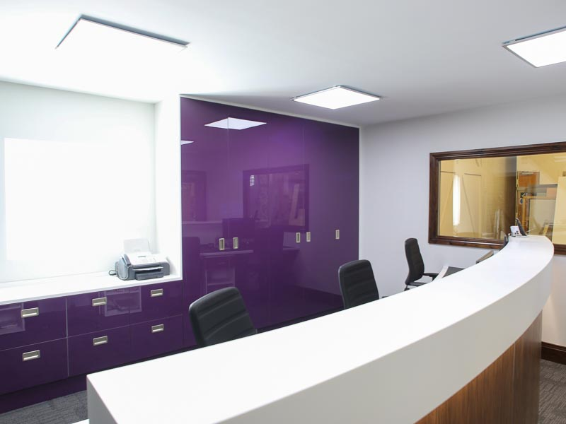Hendon Office Refit with solid surface curved reception count
